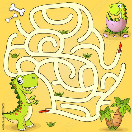 Fototapeta Help dinosaur find path to nest. Labyrinth. Maze game for kids