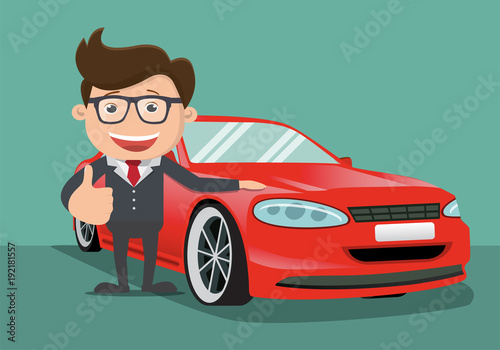 Fotobehang Auto Happy business man next to the red car. Vector illustration.