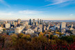 Montreal skyline from the Mont-Royal parc point of view at the end of fall with a bright blue sky.