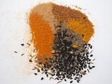 many spices including Ginger Curry Turmeric Chili pepper Black cumin Nigella sativa - 192184758