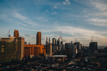 aerial view of beautiful cityscape and sunrise in Kuala Lumpur
