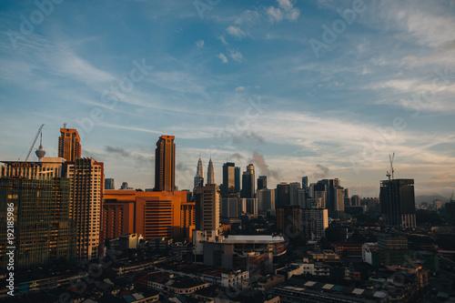 Fotobehang Kuala Lumpur aerial view of beautiful cityscape and sunrise in Kuala Lumpur