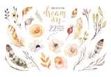 Handpainted watercolor flowers set in vintage style. Perfect for greeting cards, wedding invitation, Blossom watercolor boho botanical illustration isolated. - 192189347