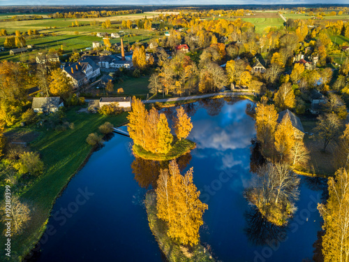 In de dag Nachtblauw Aerial Photo of a Lake in Sunny Autumn Day