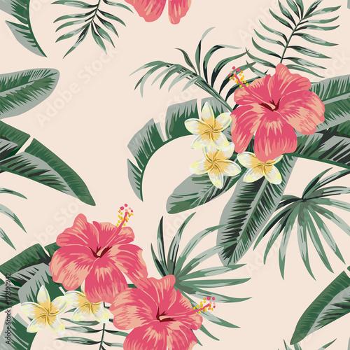 Plumeria hibiscus leaves tropical seamless pattern - 192190942