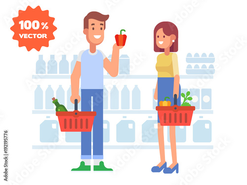 People shopping in supermarket. Cartoon style, flat vector illustration.