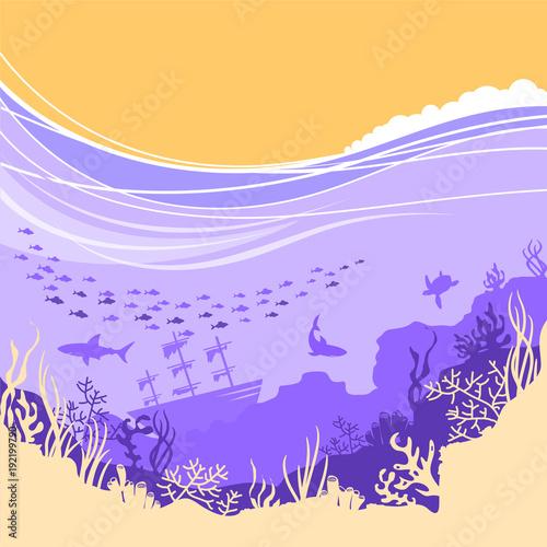 Fotobehang Purper Underwater sea background for text or design