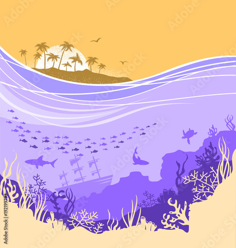 Underwater sea background with tropical island horizone