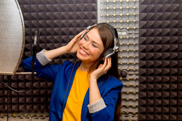 Musician in a recording studio
