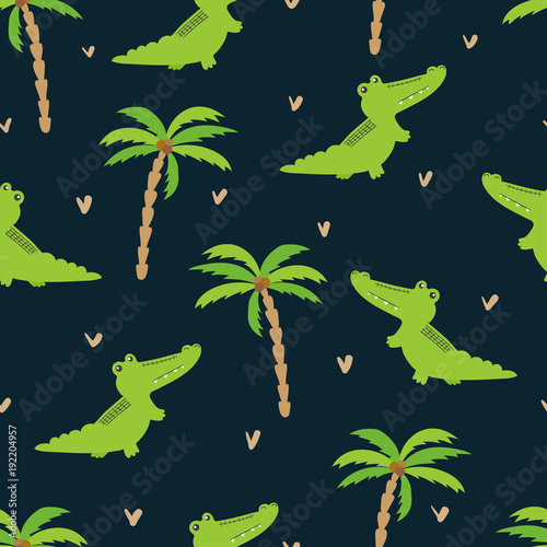 seamless-cartoon-crocodiles-pattern-vector-background-with-alligators-and-palms-baby-print-kids-design
