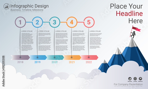 Business infographics template, Milestone timeline or Road map with Process flowchart 5 options, Strategic plan to define company values, Scheduling in project management to make facts and statistics. - 192205308