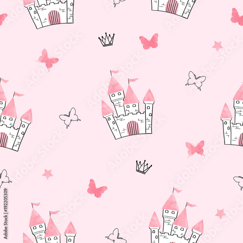 Fototapeta Seamless princess pattern with castle and butterflies.
