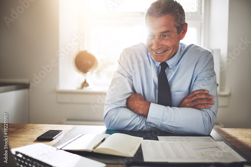 Smiling mature financial planner working at his office desk
