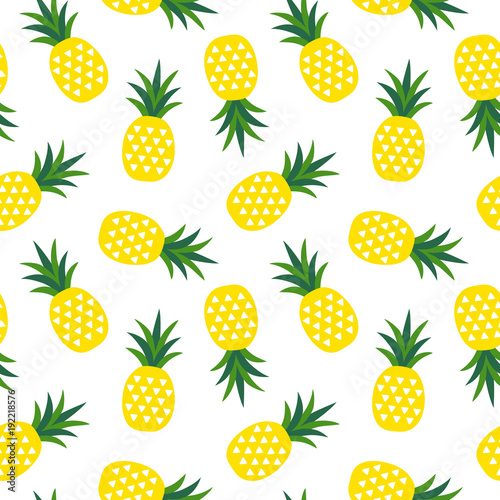 yellow pineapple with triangles geometric fruit summer tropical pattern on a white background seamless vector - 192218576