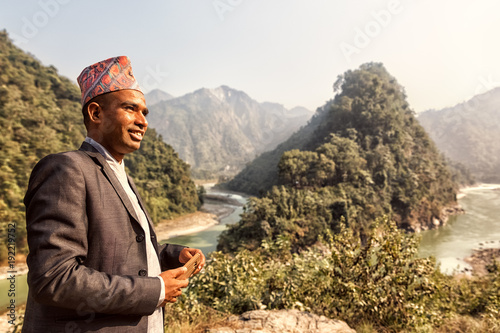 Deurstickers Diepbruine Estuary of River Seti Gandaki into Trishuli, Nepal