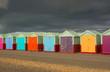 roleta: Beach huts on Brighton seafront. England