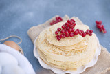 Thin sweet pancakes. traditional Russian food in the spring. Festive treat. Homemade breakfast. Free space for text or a postcard. - 192226373