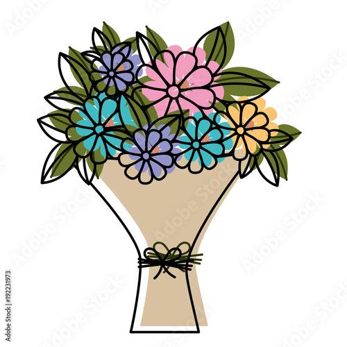 Sticker bouquet of flowers icon vector illustration design