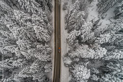 Fotobehang Weg in bos Góry prosta droga zima