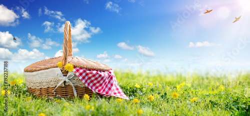 Fototapeta Picnic - Basket On Meadow