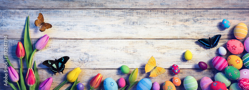 Easter - Tulips With Butterflies And Painted Eggs On Vintage Plank