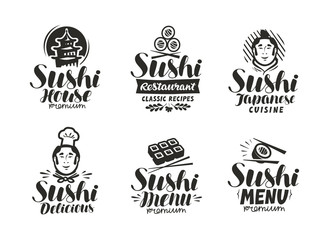 Sushi and Rolls logo or label. Japanese fast food, sashimi symbol. Typography vector illustration