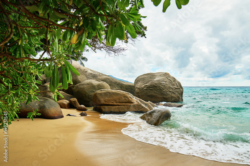 Foto op Canvas Tropical strand Mahe seychelles beach with famous rocks