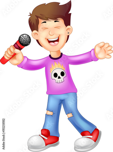 funny singer cartoon singing with smile and waving - 192258182
