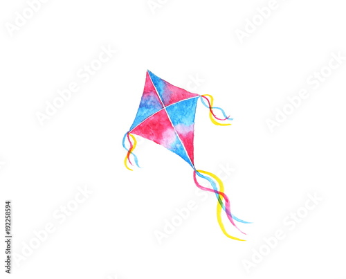 watercolor kite abstract. isolated on white background. © atichat