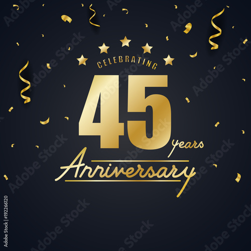 Anniversary celebration design with gold confetti