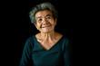 Quadro Happy Asian old woman smiling and joyful on black background