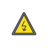 High voltage sign filled outline icon, line vector sign, linear colorful pictogram isolated on white. Danger electricity symbol, logo illustration. Pixel perfect vector graphics - 192267350