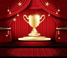 Golden Winner Cup and Red Stage Curtain.