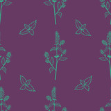 Gentle flower seamless pattern with hand-drawn pepermint. - 192269151