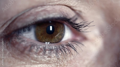 Closeup shot of brown eye of woman blinking and looking at computer monitor