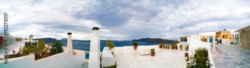 Foto op Plexiglas Panoramafoto s Panorama of Oia town. Oia Santorini Island