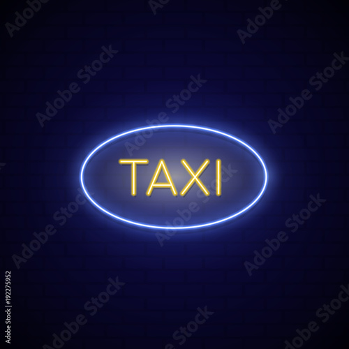 Neon sign city taxi. Blue and yellow concept neon singboard taxi service. Vector illustration