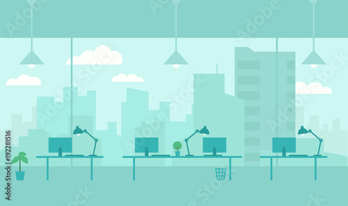 Office with view from window city. Workplace room. Skyscrapers and big city outside the window. Flat color vector illustration