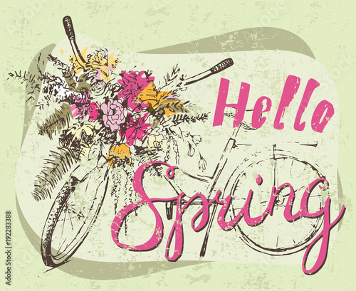 Bike with big bunch of flowers. Sketch. - 192283388
