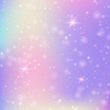 Unicorn background with rainbow mesh. Kawaii universe banner in princess colors. Fantasy gradient backdrop with hologram.  Holographic unicorn background with magic sparkles, stars and blurs. - 192284508