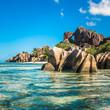 Tropical island beach, Source d'Argent, La Digue, Seychelles