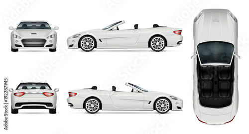 Car vector mock-up. Isolated template of cabriolet car on white. Vehicle branding mockup. Side, front, back, top view. All elements in the groups on separate layers. Easy to edit and recolor.
