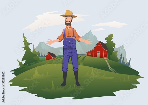 Aluminium Boerderij Happy farmer on the farm. Man welcomes visitors to the farm. Agriculture, farming. Vector illustration, isolated on white background.