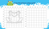 Copy the picture using a grid. Educational game for children. How to draw cute cartoon frog - 192290525