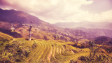 Cable car above the Longji Rice terraces (Dragons Backbone) in Longsheng County, color toned picture, China. - 192291376