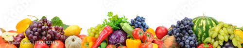 Collection fresh fruits and vegetables isolated on white background. Panoramic collage. Wide photo .