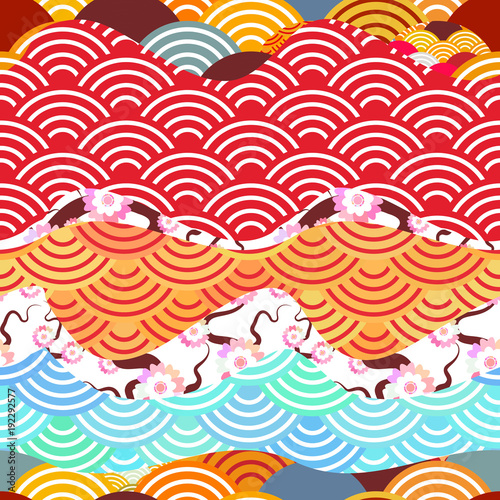 seamless pattern scales simple Nature background with japanese sakura flower pink Cherry, wave circle pattern orange red brown burgundy teal colors. Vector