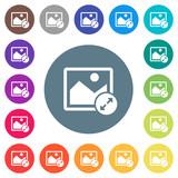 Resize image large flat white icons on round color backgrounds - 192293721