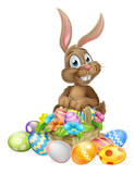 Easter Bunny  Basket Of Eggs Wall Sticker