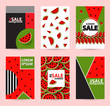 Trendy Memphis style watermelon geometric pattern, vector illustration - 192294511